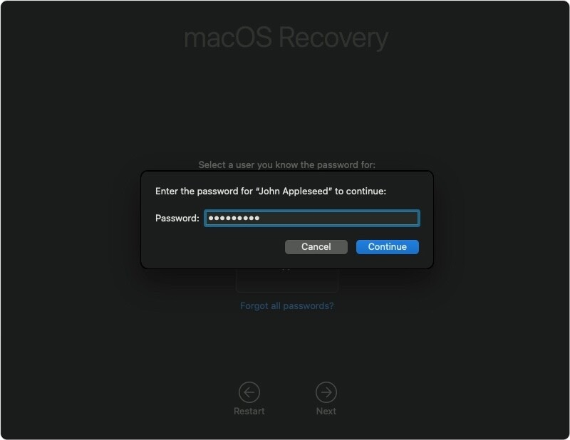 macOS Big Sur Recovery password prompt popup